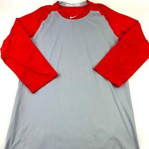 NiKe Pro 3/4 sleeve baseball shirt Dri Fit BSBLM
